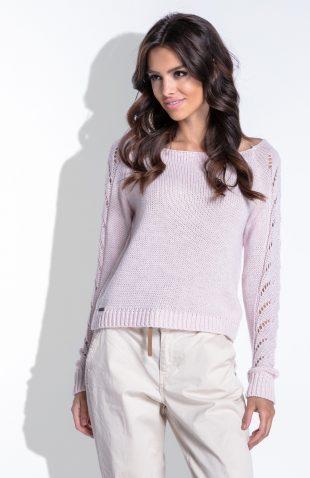 Delikatny sweterek z ażurowymi rękawami