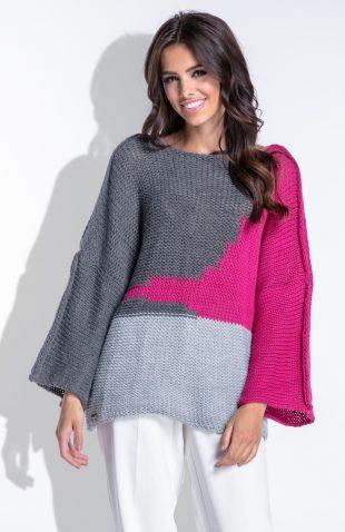 Sweter z szerokimi rękawami kimono