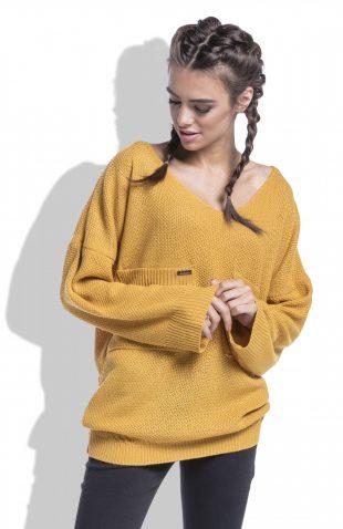 Sweter z dekoltem w serek musztardowy