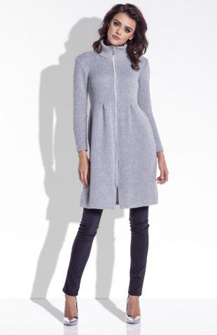 Długi sweter z suwakiem