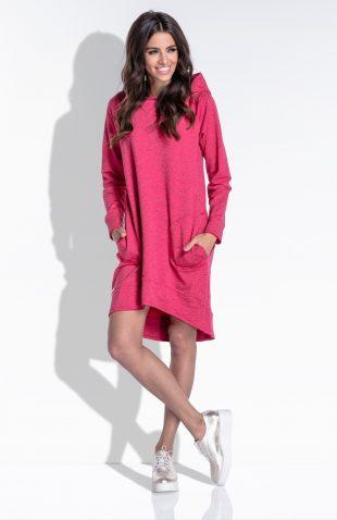Luźna sukienka z kapturem i kieszeniami