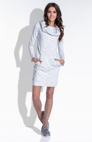 Sukienka bawełniana z szerokim kominem
