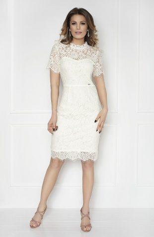 Sukienka koronkowa do kolan ecru