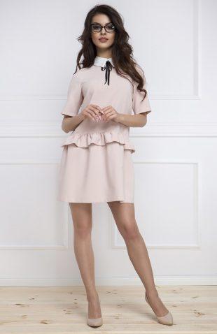 Sukienka baskinka z krótkim rękawem różowa