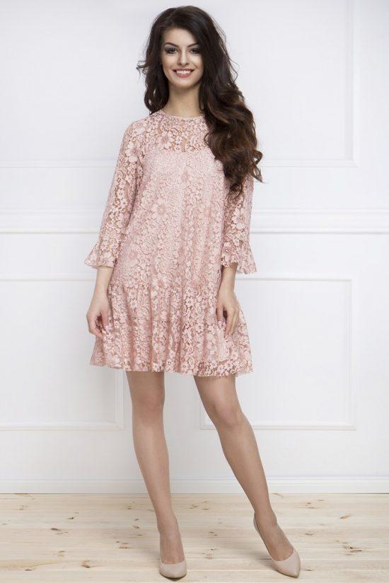 Elegancka sukienka z koronki pudrowy róż