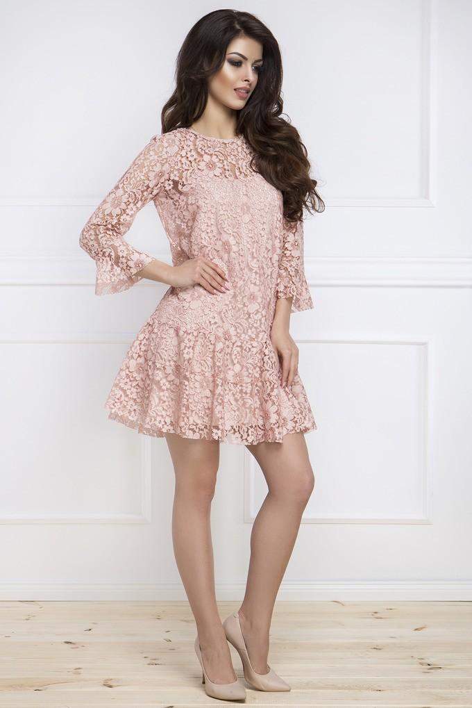 16d1e23e03 Elegancka sukienka z koronki pudrowy róż - Wysyłka już od 5