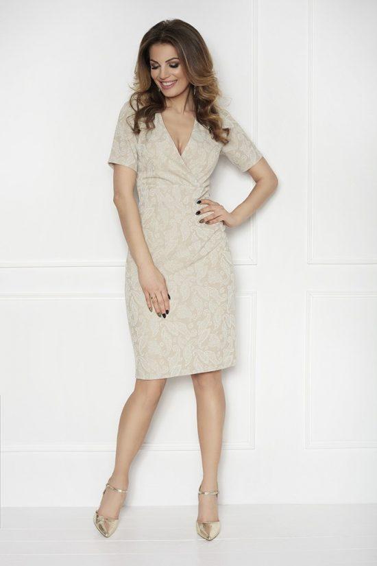 Sukienka ołówkowa z krótkim rękawem beżowa przód