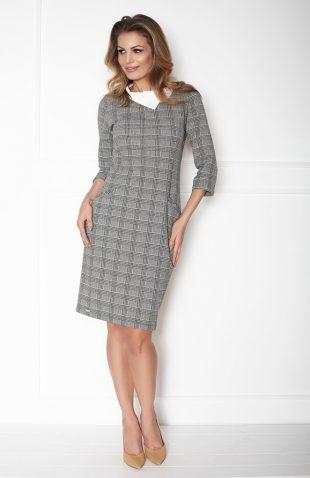 Sukienka ołówkowa w kratę do biura przód