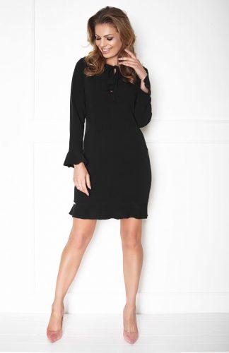 Elegancka sukienka z rozszerzanymi rękawami czarna