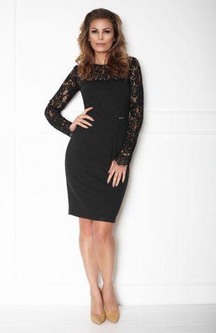Sukienka o ołówkowym kroju z koronkowym topem czarna przód