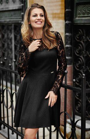 Sukienka rozkloszowana z koronkowym topem czarna