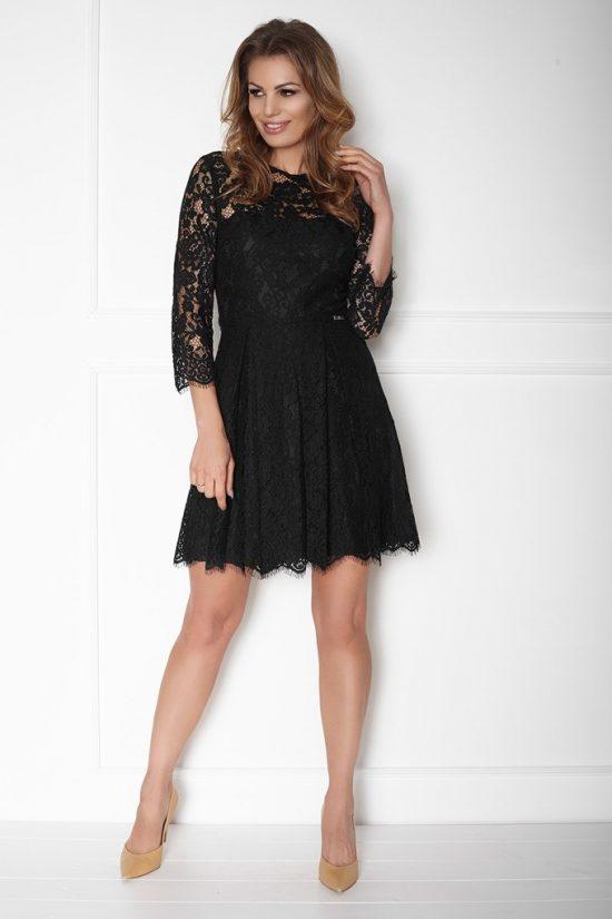 Sukienka koronkowa taliowana z rękawem