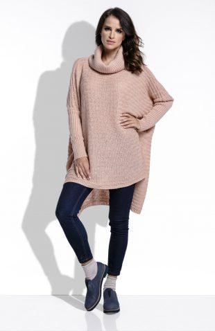 Sweter z golfem i przedłużanym tyłem