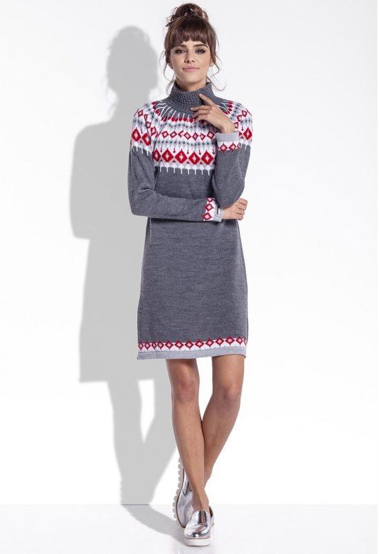 Żakardowa sukienka z norweskim wzorem