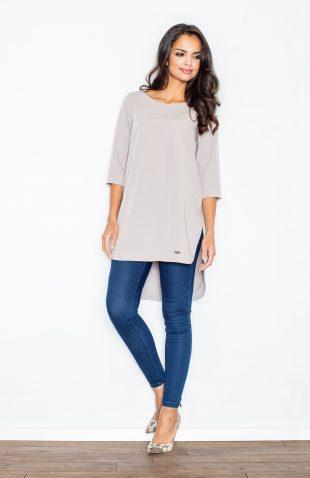 Elegancka bluzka z przedłużanym tyłem beżowa