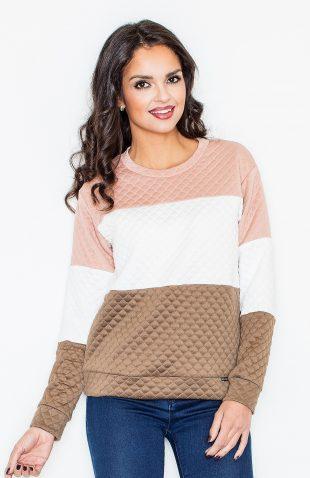 Bluza pikowana damska bez kaptura beż