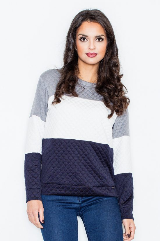 Bluza pikowana damska bez kaptura granat