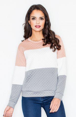 Bluza pikowana damska bez kaptura szary