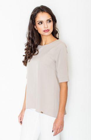 Elegancka bluzka o luźnym kroju beżowa