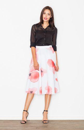 Spódnica rozkloszowana w różowe kwiaty