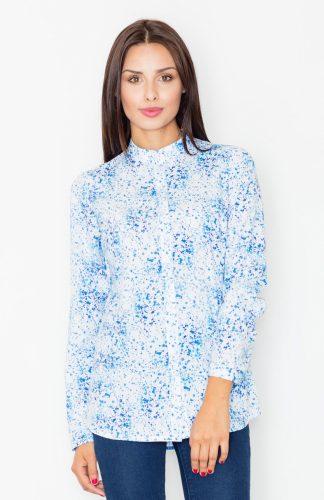 Koszula w kolorowe wzory błękit