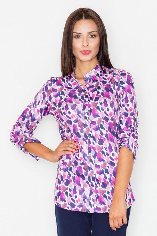 Koszula w kolorowe wzory fiolet
