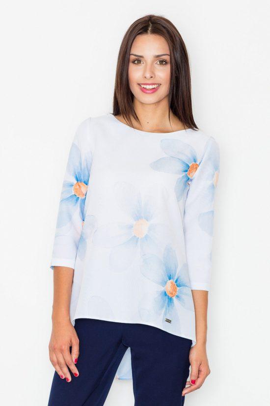 Bluzka w niebieskie kwiaty z baskinką