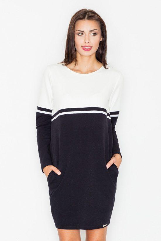 Sukienka z kieszeniami czarny-ecru