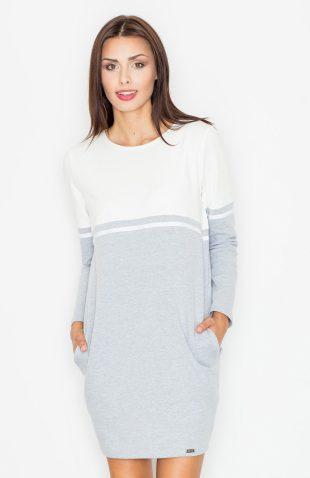 Sukienka z kieszeniami ecru-szary