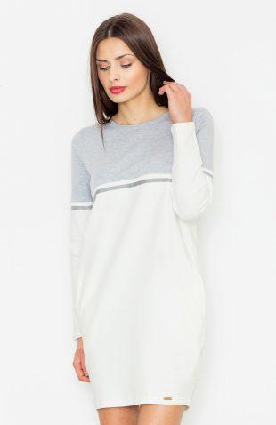 Sukienka casualowa z kieszeniami szary-ecru