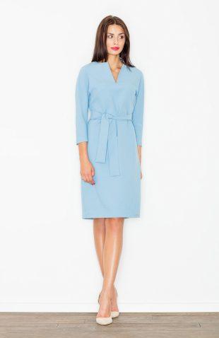 Sukienka ołówkowa wiązana w pasie niebieska