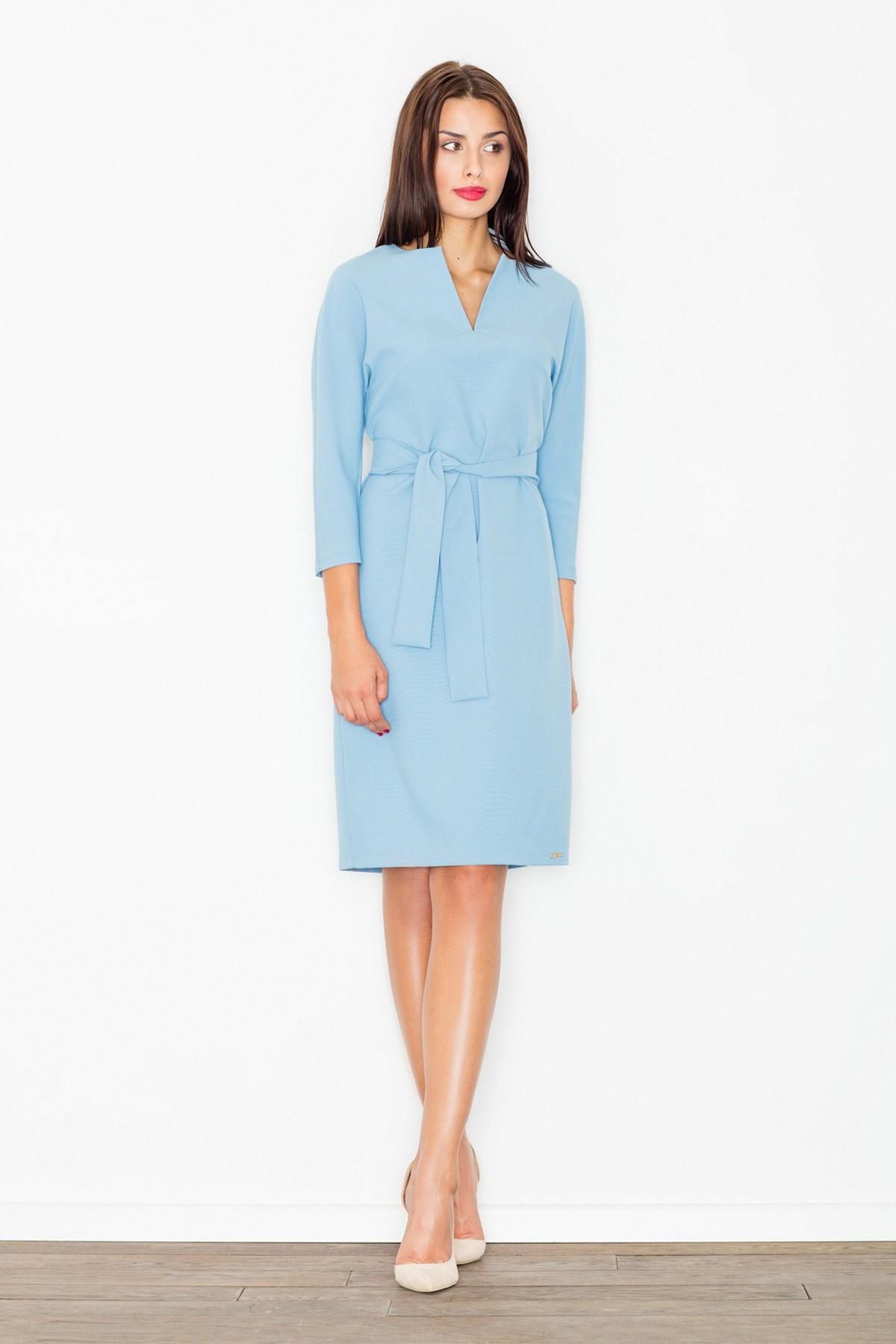 c0ac26ec6a Sukienka ołówkowa wiązana w pasie niebieska E-margeritka.pl