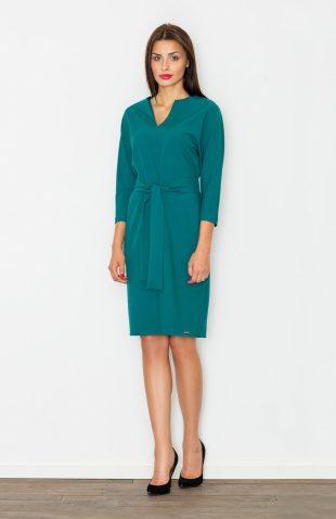 Sukienka ołówkowa wiązana w pasie ciemna zielona