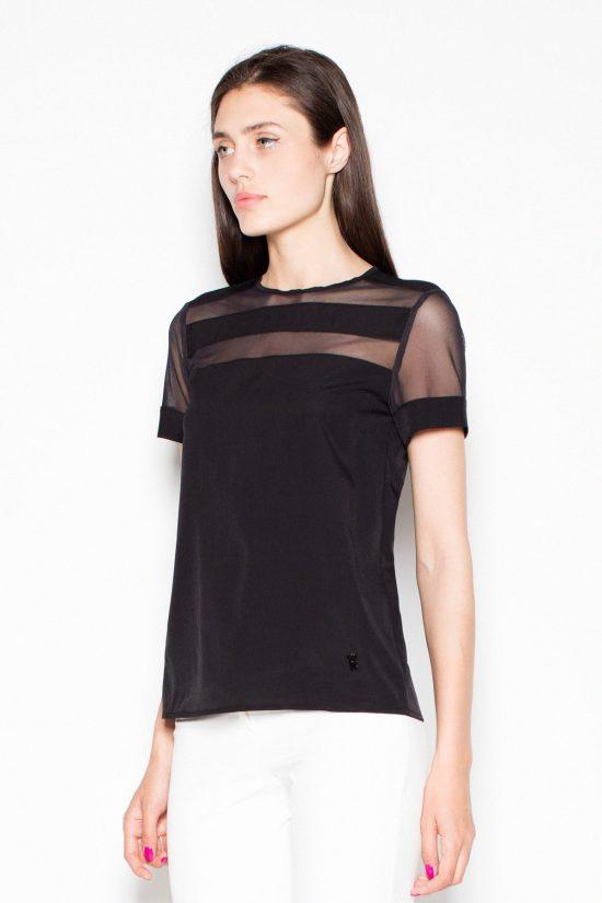 Bluzka elegancka czarna z krótkim rękawem