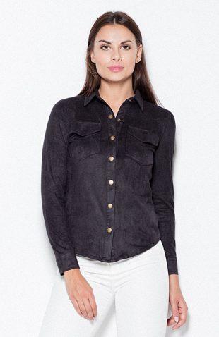 Koszula zamszowa z długim rękawem czarna