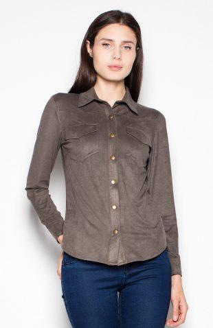 Koszula zamszowa z długim rękawem oliwkowa