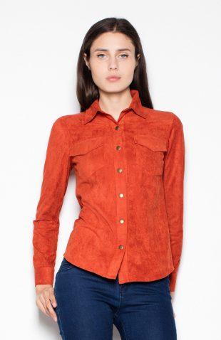 Koszula zamszowa z długim rękawem ruda