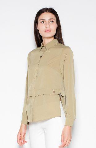 Koszula elegancka z długim rękawem oliwkowa