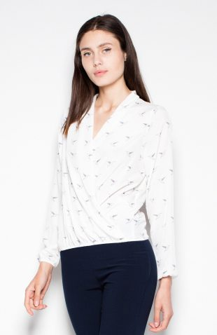 Koszula z motywem w ptaki ecru