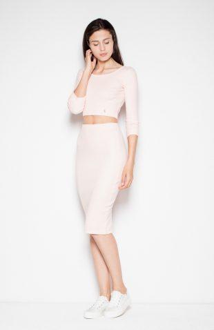 Bawełniany komplet spódnica z bluzką różowy
