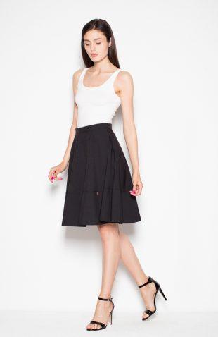 Elegancka spódnica rozkloszowana na suwak czarna