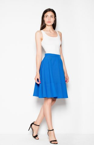 Elegancka spódnica rozkloszowana na suwak niebieska