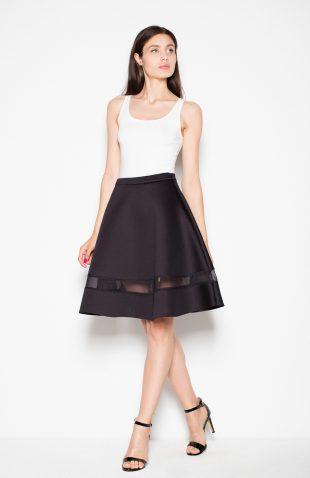 Spódnica rozkloszowana z półprzeźroczystym pasem czarna