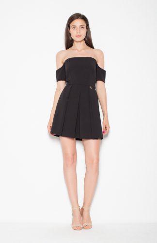 Sukienka wizytowa z opadającymi rękawami czarny