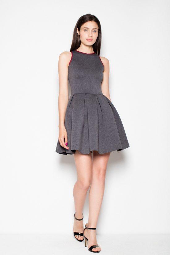 Sukienka rozkloszowana bez rękawów szaro-bordowa