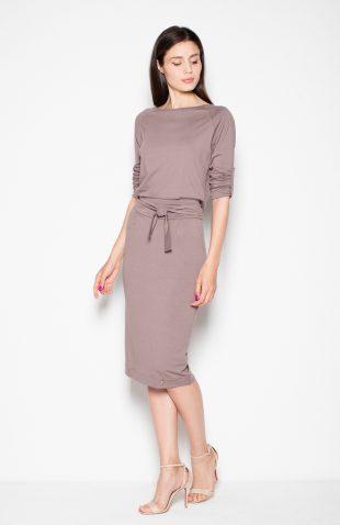 Sukienka ołówkowa midi wiązana w pasie ciemny beż