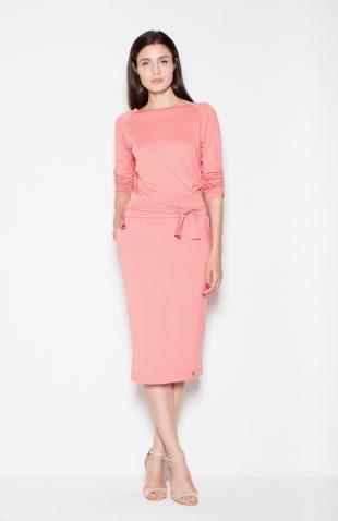 Sukienka ołówkowa midi wiązana w pasie koralowa