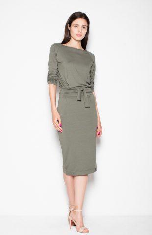 Sukienka ołówkowa midi wiązana w pasie oliwkowa