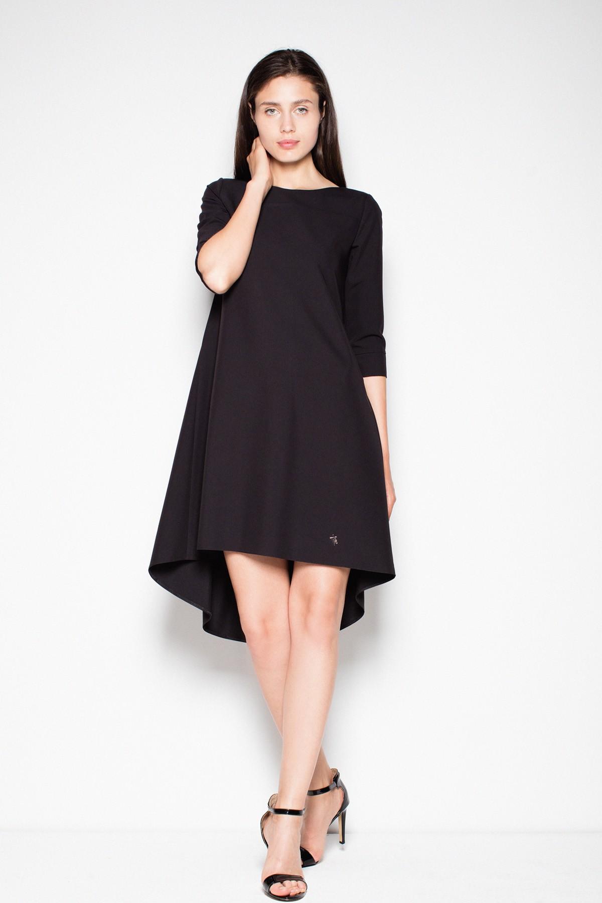 da4158f34b1397 Sukienka asymetryczna z dłuższym tyłem czarna - Wysyłka tylko 5,99 zł