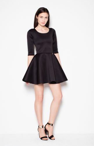 Sukienka piankowa taliowana czarny